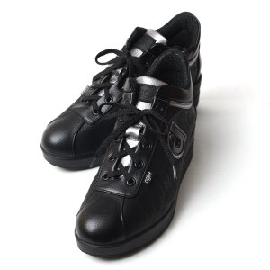 ルコライン アウトレット アージレ スニーカー agile by RUCO LINE 靴 MEDUSA ZONE 合皮 ヘビ型押し ブラック 黒 サイドファスナー付き agile-185/512BK|pendant