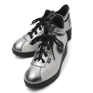 ルコライン スニーカー アージレ agile RUCO LINE 靴 MEDUSA ZONE 合皮 ヘビ型押し ホワイト×シルバー  サイドファスナー付き agile-185SI|pendant