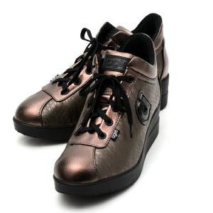 ルコライン アウトレット スニーカー アージレ agile by RUCO LINE 靴 MEDUSA ZONE 合皮 ヘビ型押し ブラウン サイドファスナー付き agile-185BR|pendant