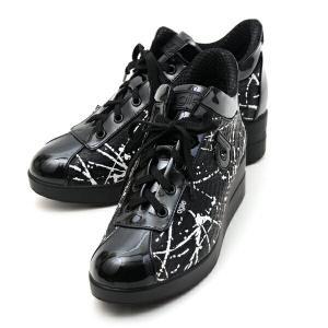 ルコライン スニーカー アージレ agile RUCO LINE 靴 ROMAN HOLIDAY ブラック 型押し  ペイント×エナメル調ブラック  サイドファスナー付き agile-186BK|pendant
