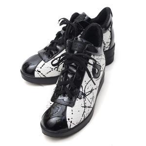 ルコライン スニーカー アージレ agile RUCO LINE 靴 ROMAN HOLIDAY ホワイト 型押し  ペイント×エナメル調ブラック  サイドファスナー付き agile-186WH|pendant