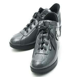 ルコライン スニーカー アージレ agile RUCO LINE 靴 ULTRA STRASS エナメル調 グレー ラインストーン付 サイドファスナー付き agile-188GY|pendant