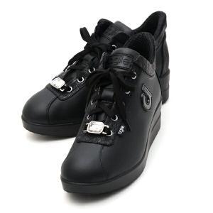 ルコライン スニーカー アージレ agile RUCO LINE 靴 MEDUSA NATURE ブラック ビジュー付き 本革 ヘビ型押し切替 黒 サイドファスナー付き agile-189BK|pendant