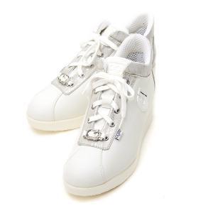 ルコライン スニーカー アージレ agile RUCO LINE 靴 MEDUSA NATURE ホワイト  ビジュー付き 本革 ヘビ型押し切替 サイドファスナー付き agile-189WH|pendant