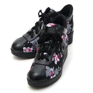 ルコライン スニーカー アージレ agile RUCO LINE 靴 DIDIER LAM 花柄 ピンク フラワープリント×ブラック  黒 サイドファスナー付き agile-191PK|pendant