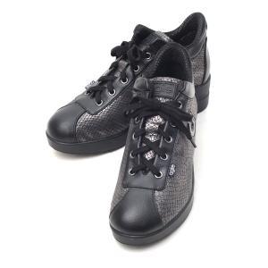 ルコライン アウトレット 靴 アージレ agile by RUCO LINE スニーカー TERSIA HAMLET 合皮 ヘビ型押し× ブラック  サイドファスナー付き agile-187BK|pendant