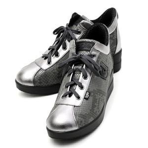 ルコライン アウトレット 靴 アージレ agile by RUCO LINE スニーカー TERSIA HAMLET 合皮 ヘビ型押し グレー×シルバー サイドファスナー付き agile-187GY|pendant