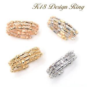 18金 リング 形状記憶 K18 指輪 コイルリング フリーサイズ 細長カットーボール ミラーボール K18YG /WG /PG /K18MIXカラー|pendant