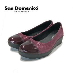 イタリア 靴 サンドメニコ 牛革 パンプス ITALY SAN DOMENICO-016 波のソール 靴 3E 本革 ワイン レッド ウエッジソール セール アウトレット|pendant