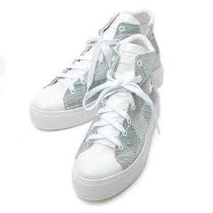 ルコライン 靴 アージレ インヒール スニーカー agile-331GR CANVAS PAINTINGS ブロック柄カーキ ハイカット サイドファスナー付き 靴 agile by RUCO LINE|pendant