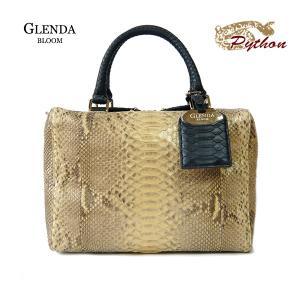 パイソン バッグ レディース GLENDA BLOOM  グレンダ ブルーム ショルダーベルト付 2WAY バッグ イエロー ゴールド 本革 ボックス型 角型|pendant