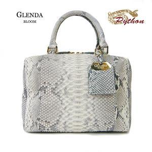 パイソン バッグ レディース GLENDA BLOOM  グレンダ ブルーム ショルダーベルト付 2WAY バッグ ナチュラルカラー 本革 ボックス型 角型|pendant