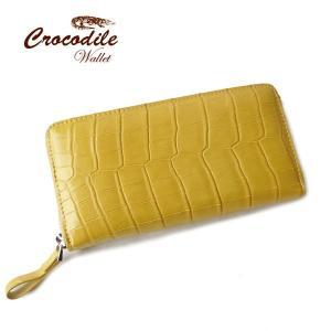 クロコダイル 長財布 ラウンドファスナー 黄色い財布 クロコダイル 財布 マット加工 黄 イエロー クロコダイル本革使用|pendant