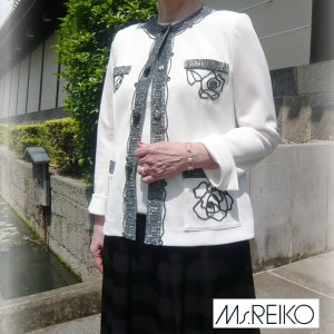 Ms.REIKO ミズレイコ ラメコード ローズ ジャケット 11号 薔薇 レリーフ 生成り ホワイト 受注生産 納期約2ヶ月 代引き不可|pendant