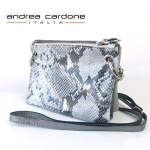 イタリア製 レディース バッグ andrea cardone ITALIA レザー 3bags ring ショルダーバッグ 本革 BAG アンドレア カルドーネ パイソン柄|pendant