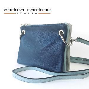 イタリア製 ショルダーバッグ andrea cardone ITALIA レザー 3bags ring 本革 レディース BAG アンドレア カルドーネ ネイビー スカイブルー ライトグレー|pendant