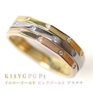 18金 リング プラチナ リング K18YG K18PG Pt900 3連リング調 天然 ダイヤモンド リング 3カラー 18金プラチナ コンビネーション トリニティ リング 指輪|pendant