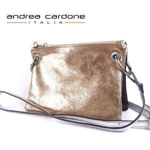 イタリア製 ショルダーバッグ andrea cardone ITALIA レザー 3カラー 本革 レディース BAG アンドレア カルドーネ ブロンズ シルバー ラメブラック|pendant