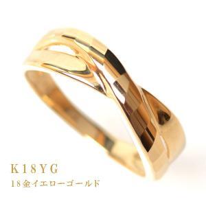 18金 リング 指輪 k18リング 18金ゴールドリング 多面カット ウェーブライン 2連調 デザインリング|pendant