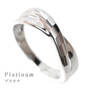 プラチナ リング 指輪 デザインリング レディース 多面カット ウェーブライン 2連調 デザインリング Pt900|pendant