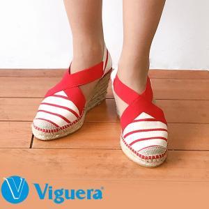 エスパドリーユ レディース サンダル Viguera ヴィゲラ Viguera-001 RAYAS ボーダー 赤 レッド ウエッジソール ジュート 麻 ビゲラ 天然素材 リゾートサンダル|pendant