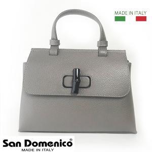 イタリア製 レディース バッグ グレー 現品限り SAN DOMENICO 1本手 ハンドバッグ バンブー 留め具 ショルダーバッグ用ベルト付 2WAY バッグ 本革 レザー BAG|pendant