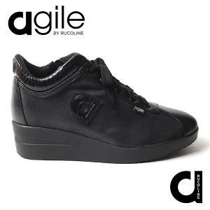 ルコライン 靴 アージレ バイ ルコライン agile-041 POLAR BRIGHT 合皮 生地 ブラック 黒 サイドファスナー付 幅広 3E スニーカー agile by RUCO LINE|pendant