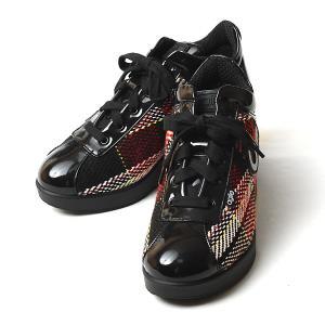 ルコライン 靴 アージレ バイ ルコライン agile-042 STRADFORD チェック柄生地 レッド エナメル調 サイドファスナー付 幅広 3E スニーカー agile by RUCO LINE|pendant