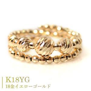 リング k18 2連調 5mm玉入り ミラーボール 18金 コイルリング カットボール スパイラル 指輪 形状記憶ワイヤー入り フリーサイズ K18YG 18金イエローゴールド pendant