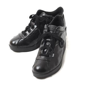 ルコライン 靴 アージレ バイ ルコライン agile-061 サイドファスナー付 RAMIRA 光沢 合皮 型押し ブラック 黒 つや消し 合皮 切替 3E agile by RUCO LINE|pendant