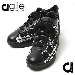 ルコライン 靴 アージレ バイ ルコライン agile-062 サイドファスナー付 チェック ツイード素材 合皮 JACKIE ブラック 3E agile by RUCO LINE|pendant