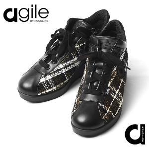 ルコライン 靴 アージレ バイ ルコライン agile-062 サイドファスナー付 チェック ツイード素材 合皮 JACKIE ゴールド ブラック 3E agile by RUCO LINE|pendant