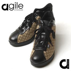 ルコライン 靴 アージレ バイ ルコライン agile-064 サイドファスナー付 LOGO21 ロゴ柄 agile-064 ジャガード 織生地 合皮 ベージュ 3E agile by RUCO LINE|pendant