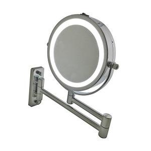 LED化粧鏡 ライト付き 電池 5倍拡大鏡+等倍鏡 両面鏡 壁掛けミラー 360度回転 ホーム、スパ、ホテル用洋式アームミラー 折りたたみホテルミラ penguin-design