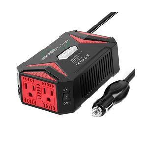 BESTEK 純正弦波 カーインバーター 300W 車載充電器 六つ保護機能 ACコンセント2口 U...