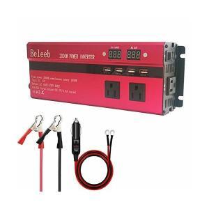 カーインバーター 2000W シガーソケット 車載充電器 USB 4ポート ACコンセント 3口 D...