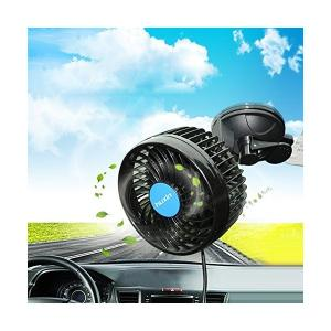 車載扇風機 双頭車載ファン 車内 扇風機 ツインファン 360°調整 クリップタイプ 多階段風量 パ...