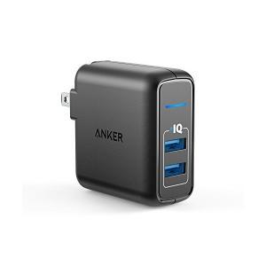 Anker PowerPort 2 Elite (24W 2ポート USB急速充電器)【折り畳み式プ...