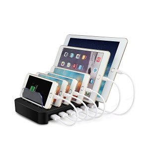 MixMart 6ポートUSB充電器 6台同期 急速充電 充電ステーション デスクトップ 充電スタン...