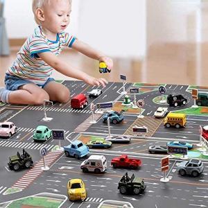 gcywj プレイマット カーペット マット 認知玩具 ベビー 子供 ミニカー 道路 抗菌 消臭 防...