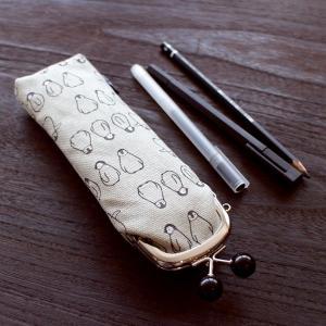 京都発 はんなり ガマぐち ペンギン 帆布 ペンケース 五色帆布堂 機能的 便利|penguin-to
