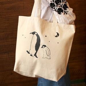 星空 親子 ペンギン BIG キャンバス トートバッグ penguin-to