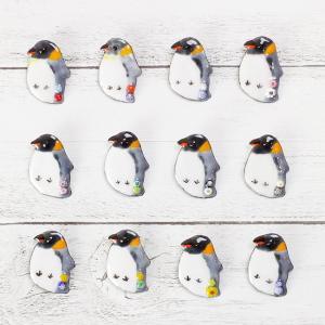 七宝焼ミルフィオリ付 ペンギン ブローチ レディース かわいい 個性的 ファンシー