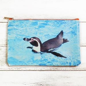 ペンギン フォトグラフィック ファスナー ポーチ ( 写真 コスメ ペンケース ) penguin-to