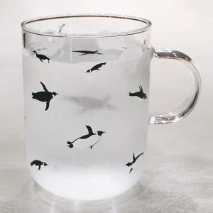 泳ぐ! ペンギン 耐熱 マグカップ  500ml  ( ガラス カフェ コーヒー 大きめ )  ホワイトデー   ホワイトデーのお返し |penguin-to