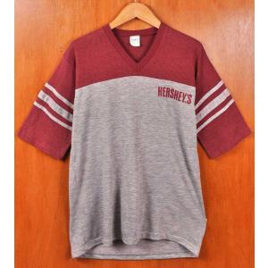 ヴィンテージ 1980年代 USA製 HERSHEY'S ハーシーズ フットボールTシャツ 霜降りグレー×ワインレッド メンズM相当|penguintripper2