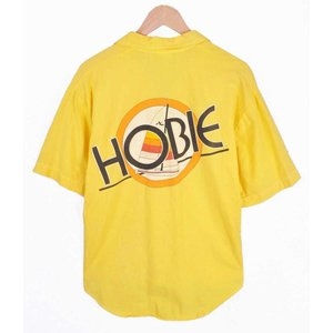 【SALE】ヴィンテージ 1980年代 USA製 / HOBIE ホビー / オールドサーフ 半袖シャツ / イエロー / メンズM|penguintripper2
