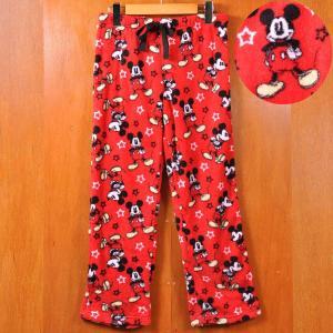 DISNEY ディズニー ミッキーマウス 総柄イージーパンツ レッド Sサイズ|penguintripper2