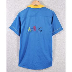 【SALE】ヴィンテージ 1990年代 USA製 / Hilton ヒルトン / ボウリングシャツ / ブルー×イエロー / チェーンステッチ / メンズM相当|penguintripper2