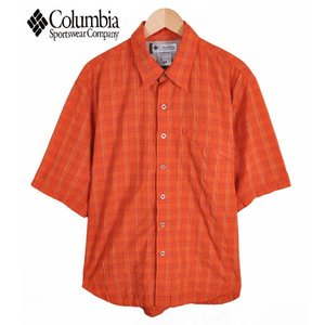 【SALE】Columbia コロンビア / TITANIUM タイタニウム / ワッシャー加工 アウトドア 半袖シャツ / オレンジ チェック柄 / メンズL相当|penguintripper2